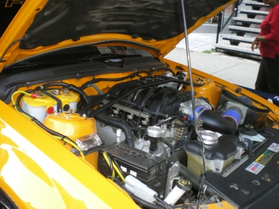 The insides of a car at Grand Prix a few years ago