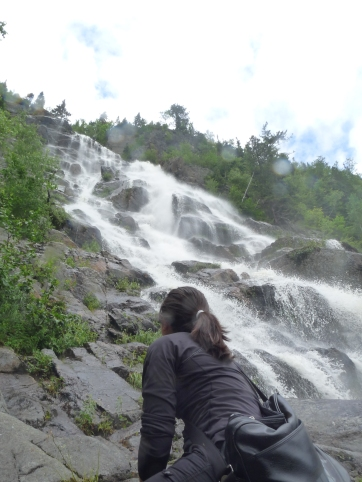 Sitting right next to waterfalls