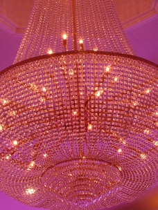 The beautiful crystal chandeliers in detail