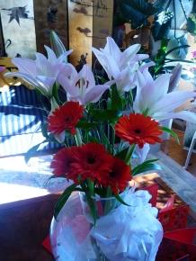 Gerbera and Light Pink Lilies