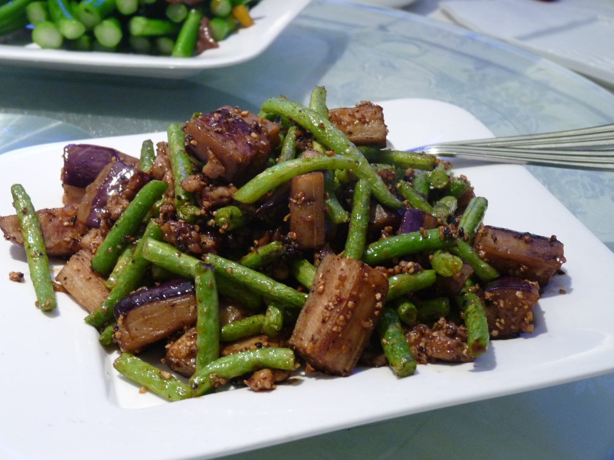Stir Fried Eggplants and Green Beans with Minced Meat
