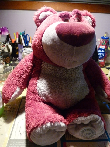Lotso from Toy Story 3 and he smells like strawberries