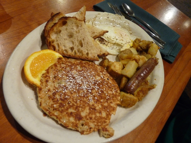 Bo Knows Breakfast: Oatmeal pancakes, home fries, two eggs, sausage, toast