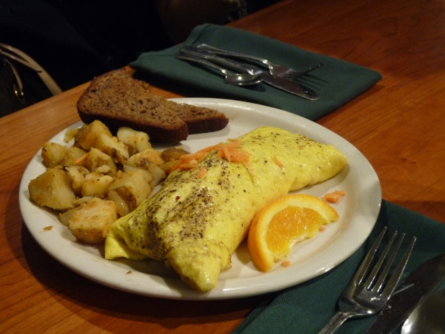 Not sure..I think this is the California Omelet.  Its vegetarian :)