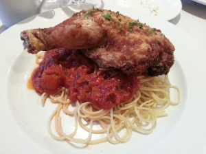 Fried Chicken Leg and Spaghetti with Tomato Sauce