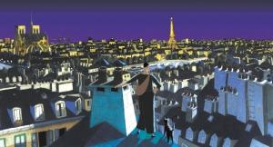 a cat in paris scenery