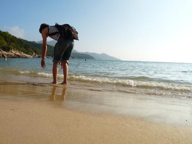 This person just ended up in my picture...by the beach on Lamma Island