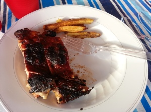 BBQ Ribs on my plate! I forgot to take pic of the chicken....