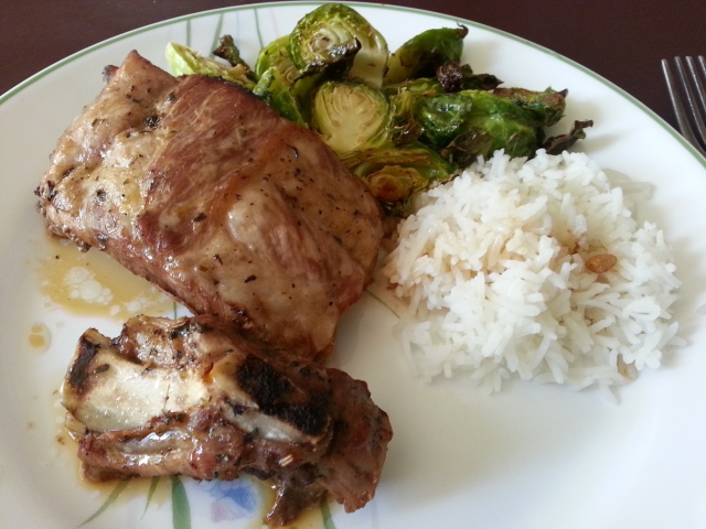 Ribs and Brussel Sprouts with Rice :)