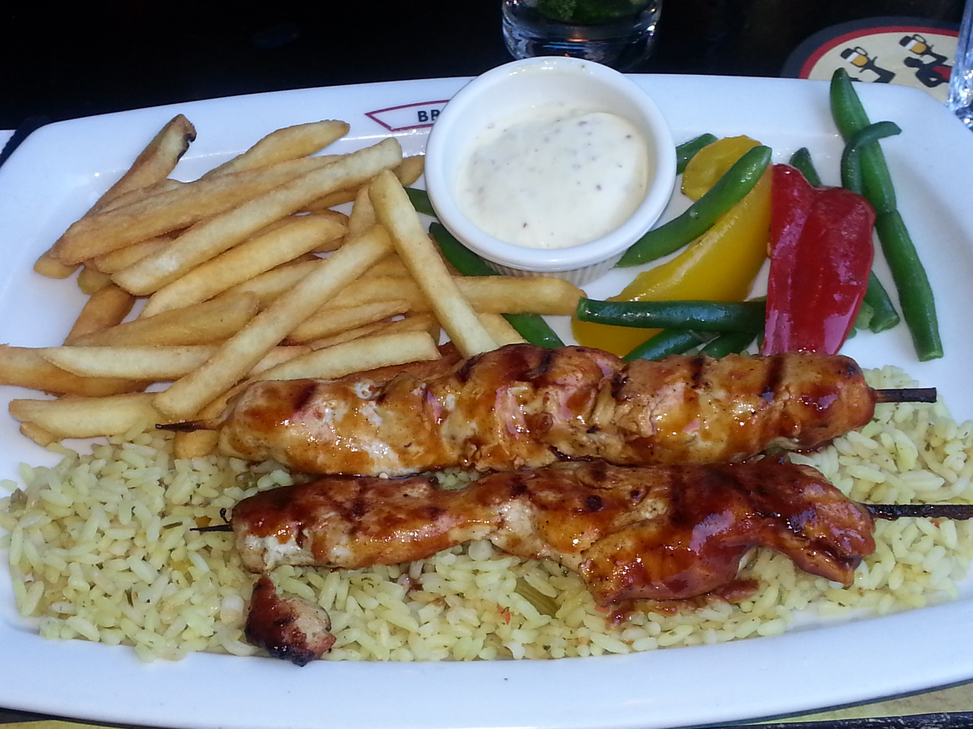 Chicken Brochette with Fries, Veggies and Rice!