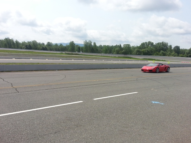 Driving in the red Lamborghini