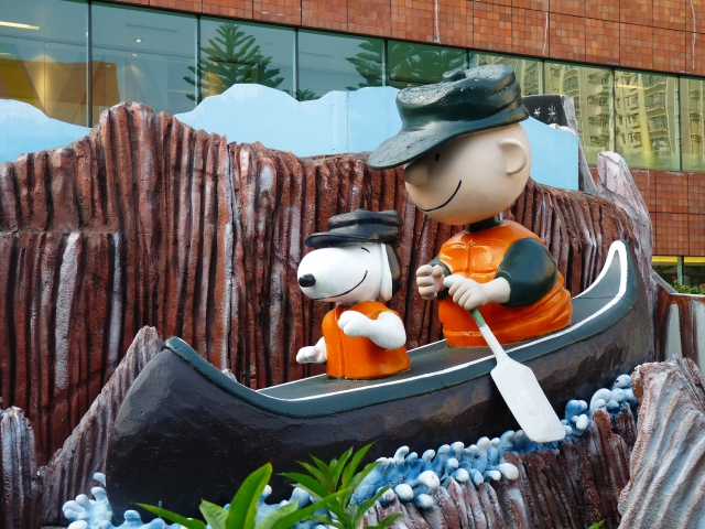 Charlie Brown and Snoopy canoeing at Snoopy World