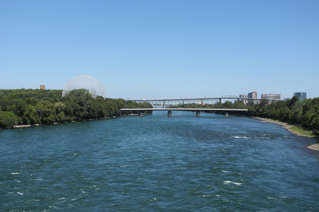 Jacques Cartier Bridge looking out from Concord Bridge