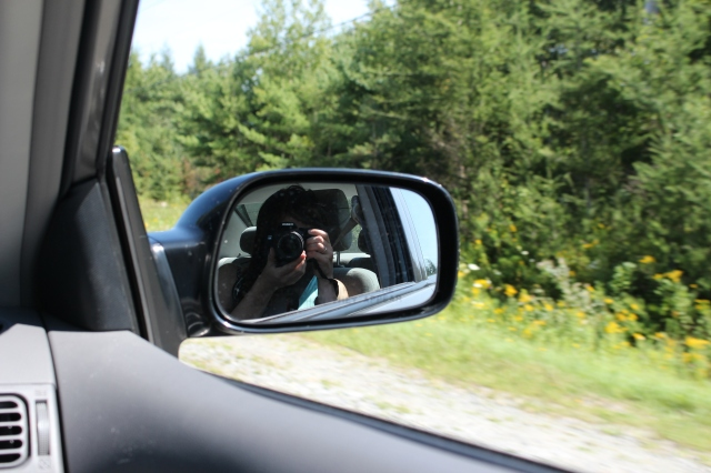 Focus on the side mirror