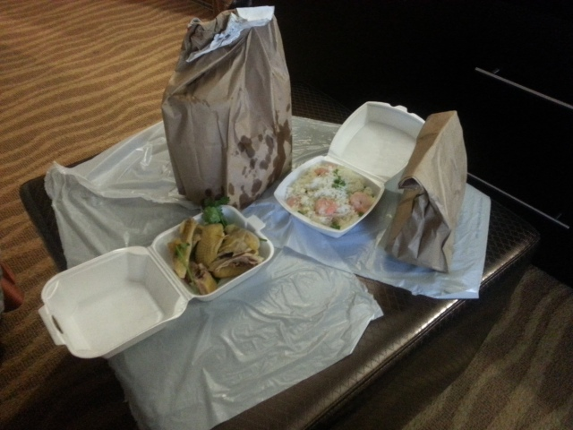 Leftovers with Five Guys at the hotel room
