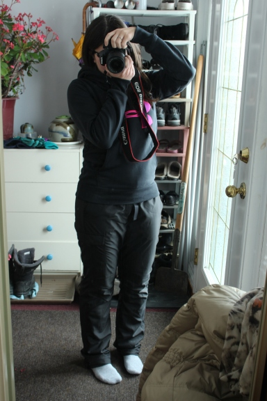 Sweater and Snow Pants ready for shovelling!