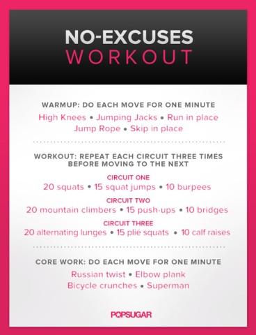 no excuses workout popsugar