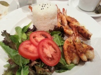 Garlic Shrimp with Salad and Rice
