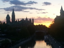 Evening on Rideau Canal and Parliament Building