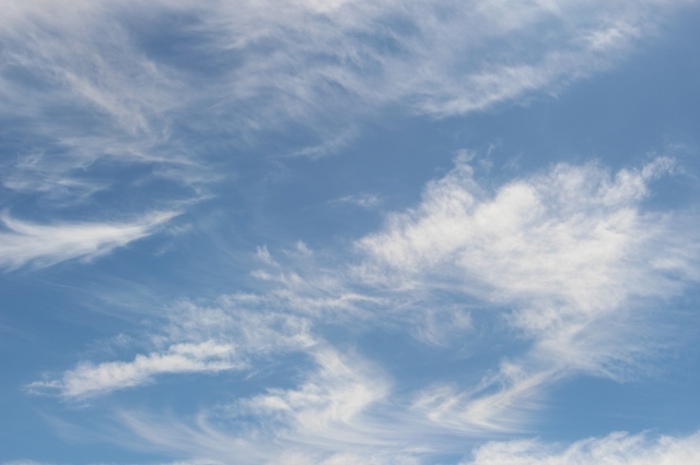 Beautiful sunny weather: blue skies, slightly cloudy