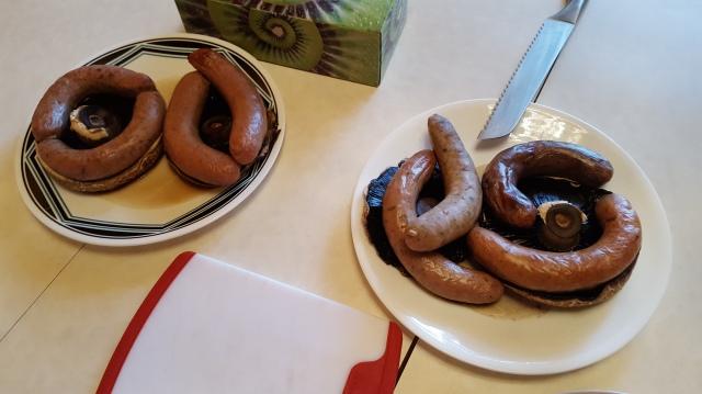 Sausages & Portobello Mushrooms